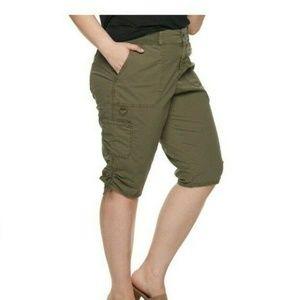EVRI Ruched Hem Utility Skimmer Shorts